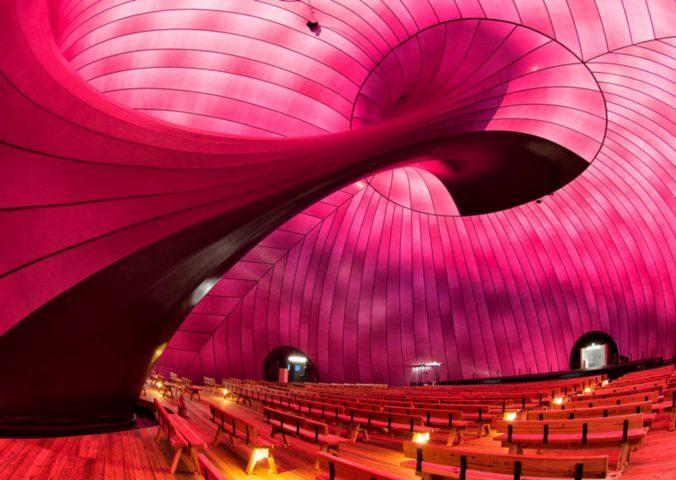 A felfújható koncertterem belülről